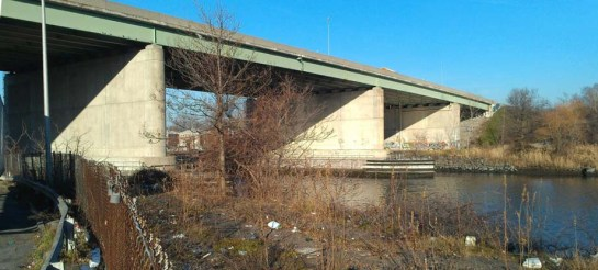 New England Thruway Bridge, south side from Hollers Avenue